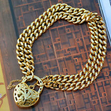 "9K Yellow Gold Filled Bracelet Double Euro Chain With Heart Locket ""Stamp 9K"""