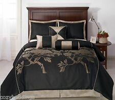 NUIT - QUEEN Size 7pc Jacquard Comforter Set Black, Khaki, Coffee Bed Cover