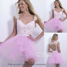 Pink Short Lace Formal Party Prom Cocktail Dresses Evening Gown Free Custom Made