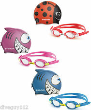 Head Meteor Character Youth Kids Cap Goggles Set Swimming, Diving, Snorkeling