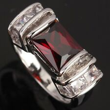 Fashion Jewelry Red GORGEOUS Garnet Gems Silver Rings US#Size5 6 7 8 9 T0785