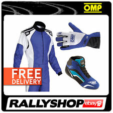 OMP KS-3 KART SET COMPLETE SUIT SHOES GLOVES BLUE XS S Sport Karting Wear Kit