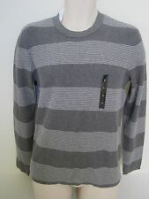 NEW BANANA REPUBLIC Mens Gray Striped Ribbed Crew-Neck Sweater Size Large NWT