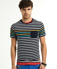 New Mens Superdry Lunar Stripe T-Shirt Olympiad Blue
