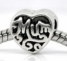 Mum European Charm Bead Block Heart Design Style Family Mothers Day Gift