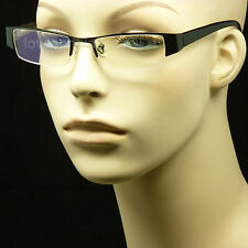 READING GLASSES RIMLESS METAL FRAME CLEAR LENS MEN WOMEN SPRING HINGE NEW MM43