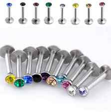 Pair 16G CZ Crystal Steel Barbell Monroe Labret Stud Lip Ring Bar Body Piercing
