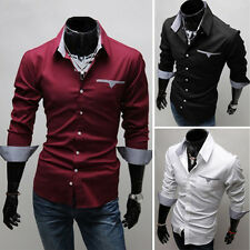 Fashion Long Sleeve Mens Luxury Formal Casual Suits Slim Fit Dress Shirt Tops
