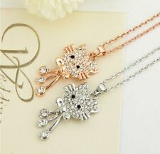 Cute crystal hello kitty white or gold necklace