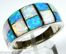 Blue and White Fire Opal Inlay 925 Sterling Silver Men's Ring 9, 10.25, 11.5