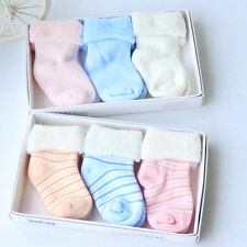 3 Pairs 0-12M Infants/Children Baby Girls Boys Thick Warm Socks Mid-Calf Socks
