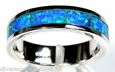 Blue Fire Opal Inlay 925 Sterling Silver Eternity Band Men's, Woman Ring All Sz