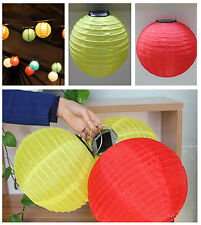 Rechargeable Solar Chinese Lantern White Yellow Red 10'' LED Lighting Lantern PS