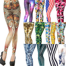 60TYPE Women Stretch Pencil Tights Digital Print Skinny Pantyhose Pants Pant