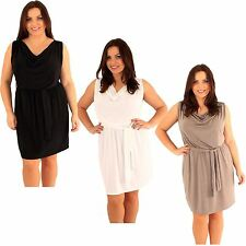 New  Womens Plus Size Cowl Neck Belted Mini Going Out Dress 18-24