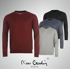 Mens Designer Pierre Cardin V Neck Knitted Jumper Top Size S M L XL 2XL 3XL 4XL