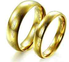 316L Stainless Steel Golden The Lord of the Rings love Couple Rings Gifts 1 PAIR