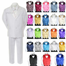 New Boy Kid Formal Wedding 7pc White Suit Tuxedo Royal Blue Vest Tie sz 4-14