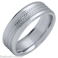 MENS WEDDING BAND ENGAGEMENT RING WHITE GOLD HIGH GLOSS BRAIDED 6mm
