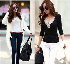 Women Lady Lace Tops Long Sleeve Floral Shirt Casual Blouse smock T-shirt Hot