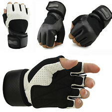 Fashion Mens Black Gym Lifting Leather Half Finger Gloves Body Building Fitness