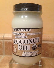 TRADER JOES JOE'S ORGANIC VIRGIN UNREFINED COCONUT OIL  JAR 16 OZ