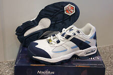 NAUTILUS WOMENS SAFETY SHOES STEEL TOE N1362 NIB WHITE/BLUE LEATHER FREE SHPG!