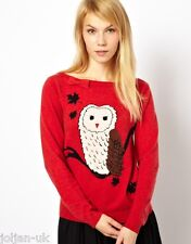 NEW LADIES YUMI RED KNIT OWL PRINT JUMPER SIZE 12 BNWT