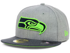 Official Seattle Seahawks New Era 59FIFTY Fitted Hat NFL Heather 2 Tone