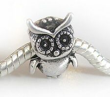 Owl European Charm Bead Bird Animal Standing Fashion Silver Fits Bracelets 1PC