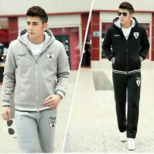 Hot Men's Warm Hoodies Zip Up Track Jacket Sport Pants 2 Pcs Sweatsuit Tracksuit