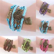 Stylish Infinity LOVE Heart Flower Friendship Antique Leather Charm Bracelet U22