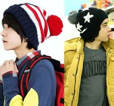 Unisex Star Flag Winter knitted Wool hat cap for women and man boy Free shipping