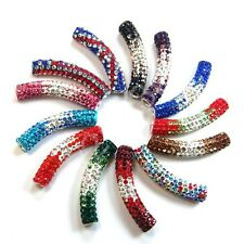 48mm Curved Czech Crystal Rhinestones Pave Tube Bracelet Connector Charm Beads