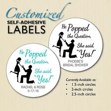 """He Popped the Question"" Sticker-Wedding/Bridal Shower Favor Label Engagement"