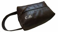 Real Leather Wash Bag Personalised to order Box Style Zip  Hand loopTravel LOTHS