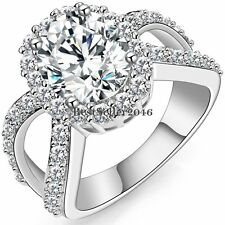 Silver Tone Infinity Big Round Cubic Zirconia Ring Engagement Wedding Promise