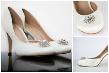 VINTAGE BRIDAL SHOES WEDDING BRIDESMAID PARTY EVENING SIZE SATIN BROACH ADELIE