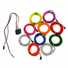 1/2/3/4/5M Flexible Led EL Tube Wire Neon Glow Decor Light +3V/12V controller