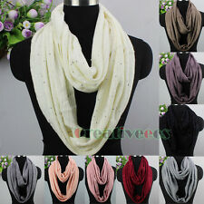 Women Fashion Scarves Solid Color Sequins Soft Knit Wool Long/Infinity Scarf New