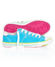 New Womens Superdry Super Series Lo Top Trainers Turquoise Blue
