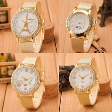 Women Ladies Crystal Gold Stainless Steel Mesh Band Wrist Watch Gayly
