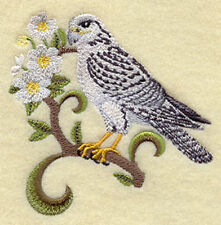 Northwest Territories Gyrfalcon and Mountain Avens Medley Embroidered  Block
