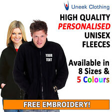 NEW 10x Personalised Uneek Embroidered Full Zip Up Micro Fleece Jacket, Workwear