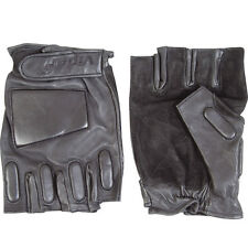 NEW Viper Black Strong Leather Tactical Padded Fingerless Securtiy Glove Gloves