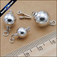 Wholesale 7 mm / 8 mm White Gold Plated Round Ball Clasps Jewelry Findings