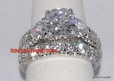 Silver 925 Engagement Wedding Set Clear CZ Ring Sizes 4 5 6 7 8 9 10 11 Women's