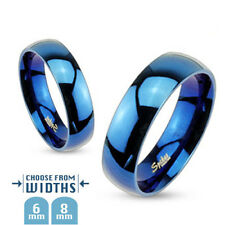316L Stainless Steel Blue IP Polished Comfort Fit Wedding Band Ring, Choose Size