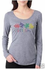 "Bling Rhinestone ""AUTISM AWARENESS"" Next Level Tri-Blend Woman Long Sleeve Scoop"
