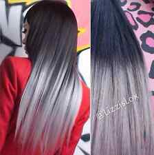 "Clip In Human Hair Extensions 20"" Black Grey Ombre Dip Dye Gray Balayage"